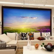 厂家直销大型环保无纺布卧室墙纸田园山水风景系列壁画定制
