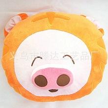 创意卡通动物毛绒抱枕时尚桔色麦兜猪坐垫方形汽车靠枕加LOGO定制