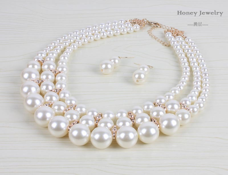 Occident and the United States pearlNecklace Set (creamy-white)NHCT0058-creamy-white