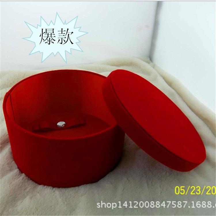 定制长毛绒花盒进口永生花盒玫瑰花礼盒 花盒圆形保鲜花盒定做