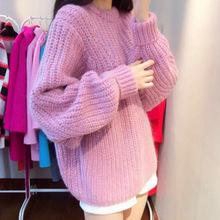 韩国秋冬装韩版圆领套头粗棒针宽松蝙蝠袖大毛衣外套女针织衫加厚