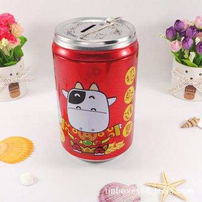 供应C412#可爱可乐储钱罐 儿童童年乐趣储钱铁罐 欢迎定制