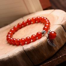 天然紅瑪瑙手鏈民族風飾品 紅色水晶手串本命年女款愛情魚 小樹葉