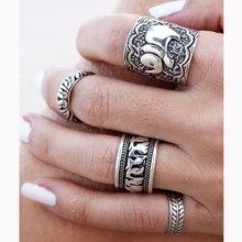 欧美复古做旧雕花大象古银戒指指环 4个一组四件套装关节戒指