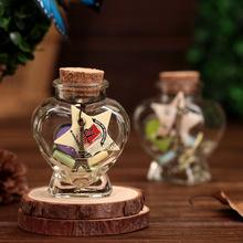 M0513  T小桃心许愿瓶,闪光发光,淘宝热销生日礼物玻璃工艺品