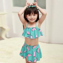 海依?#30418;?#27454;儿童泳衣韩国外贸原单?#34892;?#22899;童女孩裙式分体比基尼泳衣