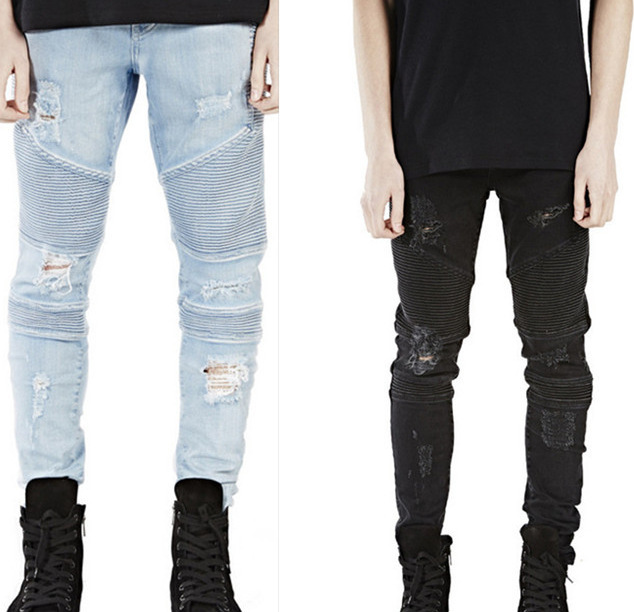 2017 New Men Shredded Skinny Jeans Tapered Knee Ripped Hole ...