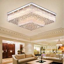 新款双层方形吸顶灯豪华LED客厅灯现代简约水晶灯卧室房间灯具
