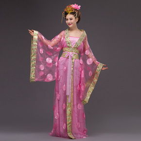 Special sale of ancient Tang imperial concubine Hanfu red seven fairy dress flower color yarn performance studio tailing