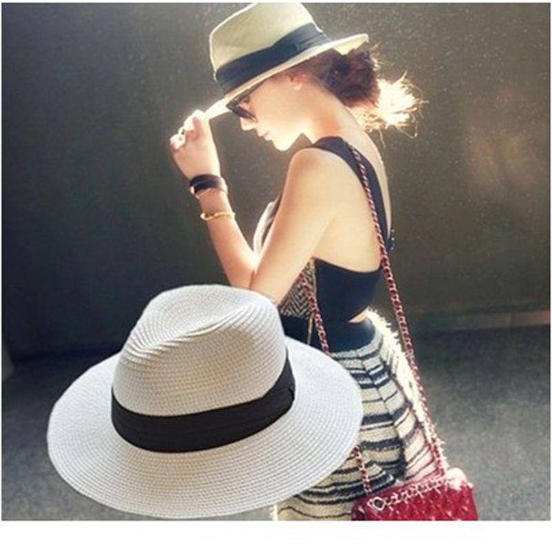 夏天平檐宽檐女式草帽女士爵士帽礼帽遮阳帽子沙滩