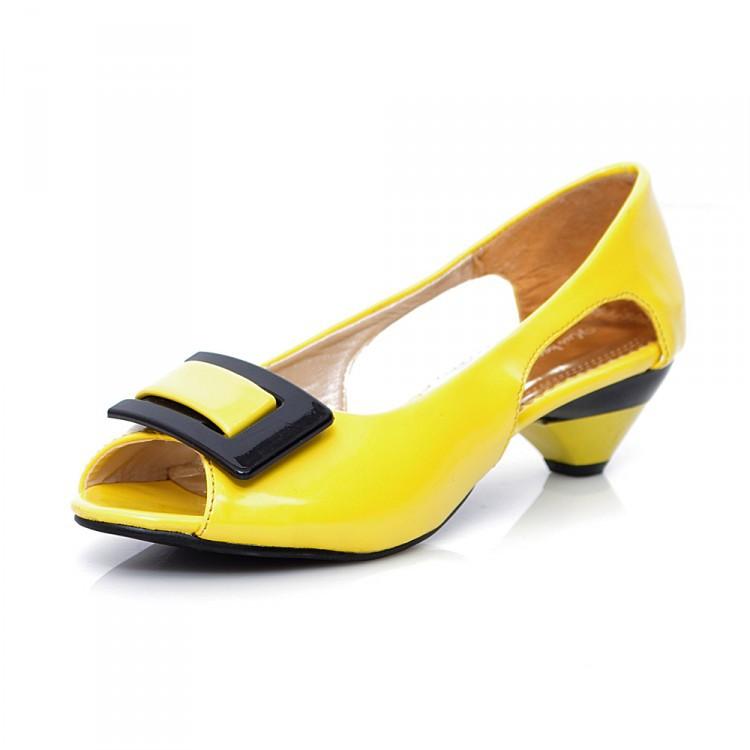 2015新款夏季粗跟魚嘴涼鞋女式方扣中跟女士涼鞋子大碼鞋廠家團購