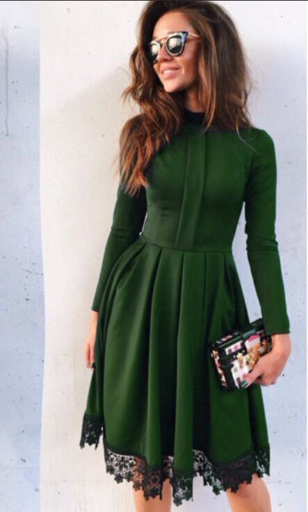 2be2b8ef7a 2019 New Winter Green Dress High End Fashion Brands With Paragraph S ...