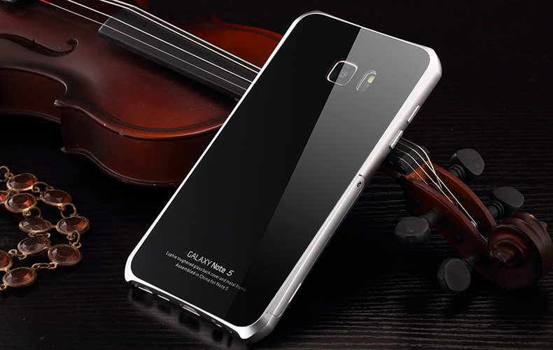 Luphie Aircraft Aluminum Metal Frame 9H Tempered Glass Back Cover Case with Kickstand for Samsung Galaxy Note 5 N9200