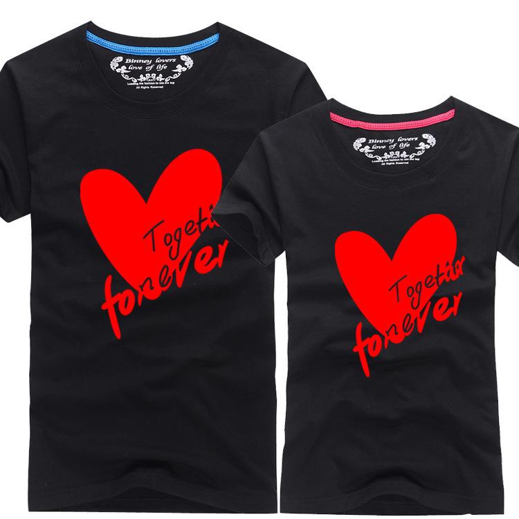 学生新款情侣装夏季短袖 精棉修身圆领t恤男女款爱心厂家直销 T恤