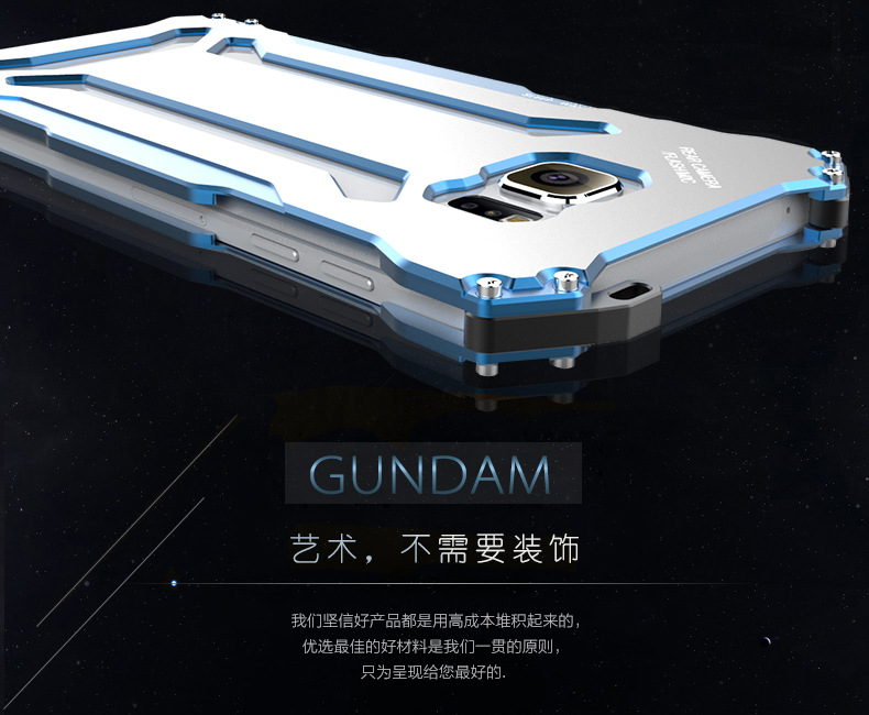 R-Just Gundam Aerospace Aluminum Contrast Color Shockproof Metal Shell Outdoor Protection Case for Samsung Galaxy Note 5
