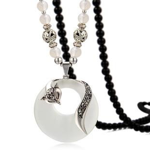 Opal fox sweater chain long style Korean wild bead necklace female fashion pendant pendant decoration wholesale