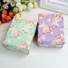 创意碎花平板纸盒子diy礼品盒 绿色花开?#36824;?#35013;烟大号喜糖盒批发