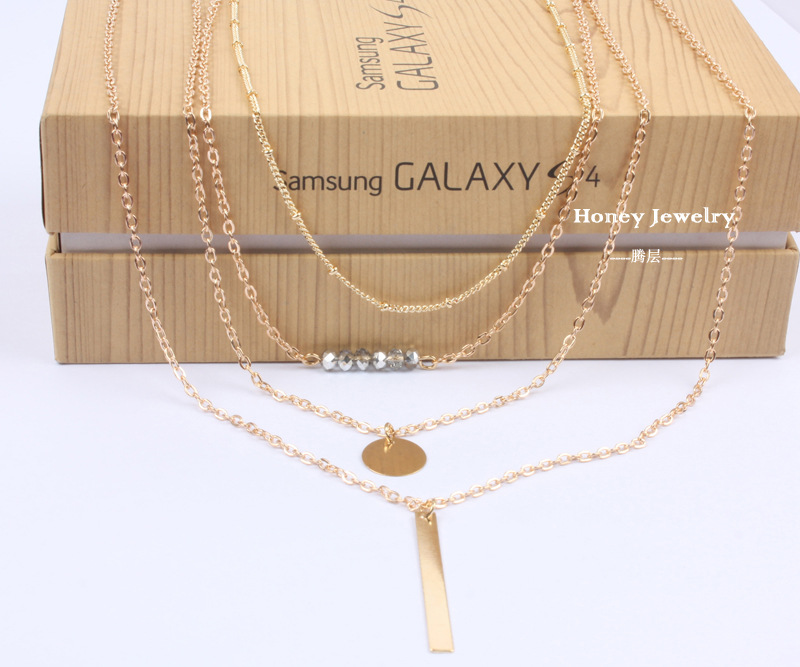 Simple crystal plating necklace (Gold)NHCT0002-Gold