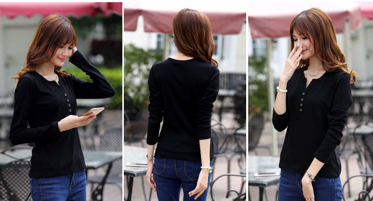 2313178008 1632579699 - New Autumn Long Sleeve t-shirt Solid Womens Tops Fashion