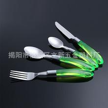 创意透明不锈钢餐具 防烫手柄不锈钢刀叉勺 便捷西餐餐具套装定做