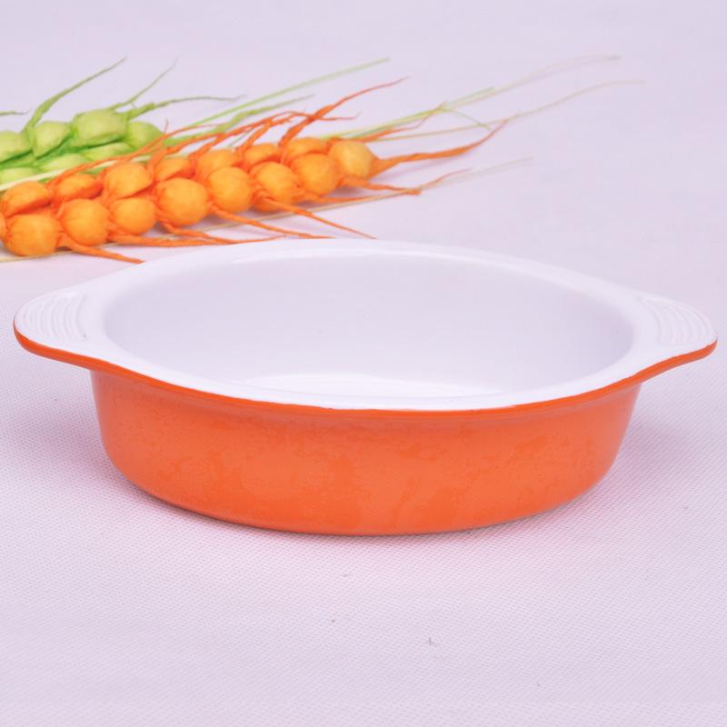 焗饭盘/蛋糕烤盘/捞面盘/烤箱微烘焙陶瓷椭圆形双耳盘