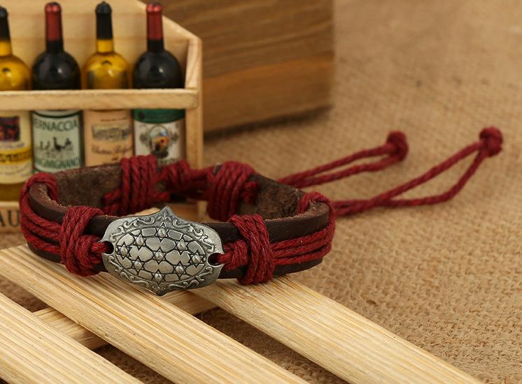 Leather Vintage Geometric bracelet  (Four-color ropes are made) NHPK1897-Four-color ropes are made