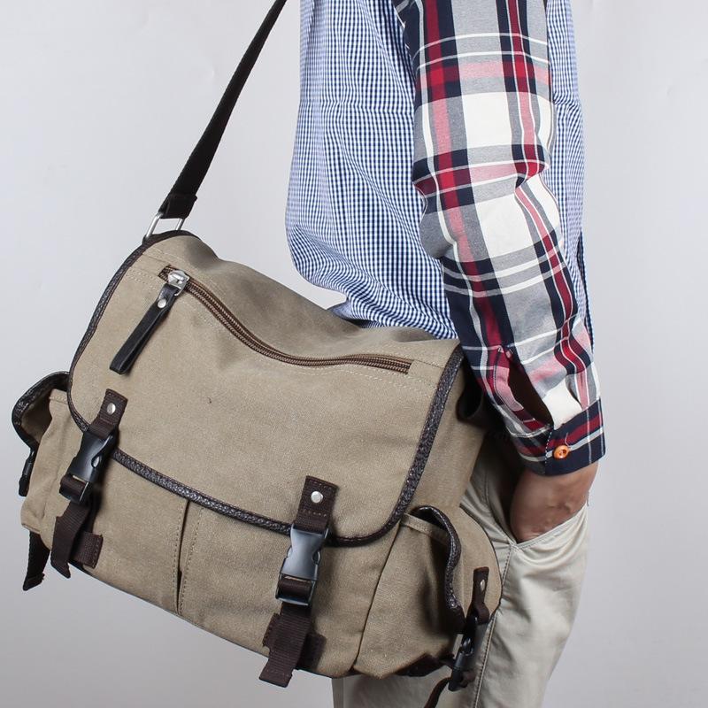 新款帆布男邮差斜跨背包男士手提中学生书包休闲单肩男包一件代发