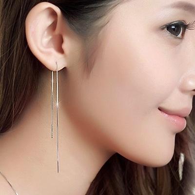 S925纯银耳线 韩版长款简约耳钉 女 韩国流苏银耳环防过敏耳饰