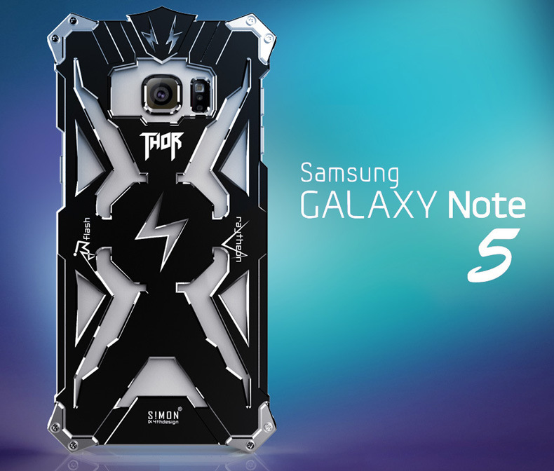 SIMON THOR Aviation Aluminum Alloy Shockproof Armor Metal Case Cover for Samsung Galaxy Note 5 N9200