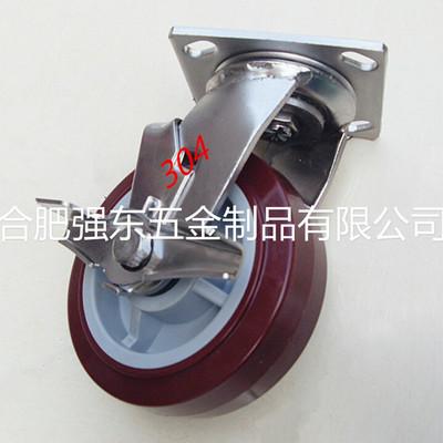 生产厂家供给6寸304不锈钢边刹聚氨酯脚轮 静音PU聚氨酯万向轮