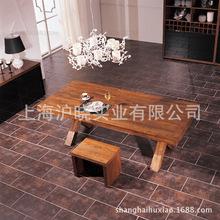 实木大桌子 仿古桌子 原木实木大餐桌 高档餐桌椅 实木桌