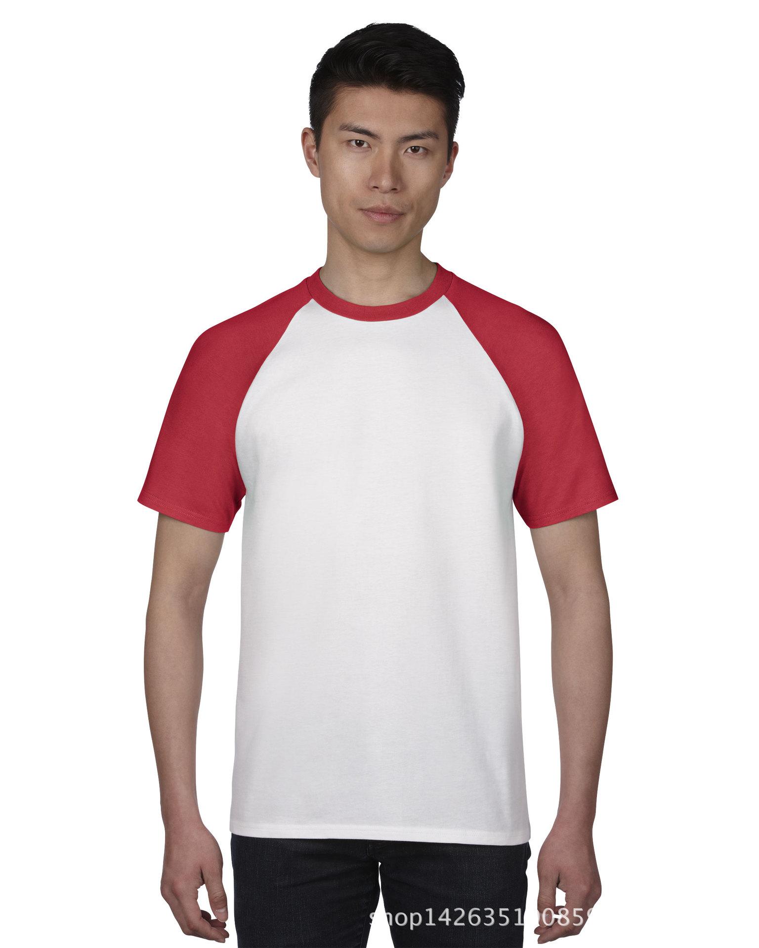 订做空白圆领纯棉t恤红色插肩短袖套头上衣夏薄款校服班服运动装