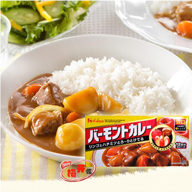 日本进口咖喱 好侍佛蒙特咖喱块 蜂蜜苹果味甜口咖喱 甘口 230g