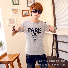 Summer breathable and cool men's clothing fashion leisure men's round collar t-shirt youth clothing