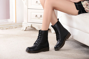 leather Europe and the locomotive Martin boots British style Martin boots round head for women's fashion boots