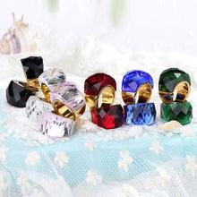 卡轮新款日韩风时尚水晶玻璃女款多色戒指 镀18K金指环饰品