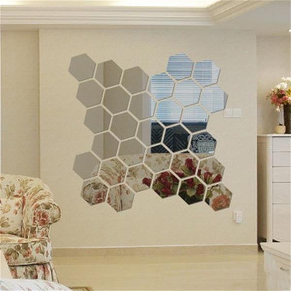 厂家直销六边形镜面环保亚克力墙贴 背景墙壁饰水晶立体镜面贴