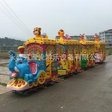 供应儿童户外游乐设备小火车14座玻璃钢大型大象火车