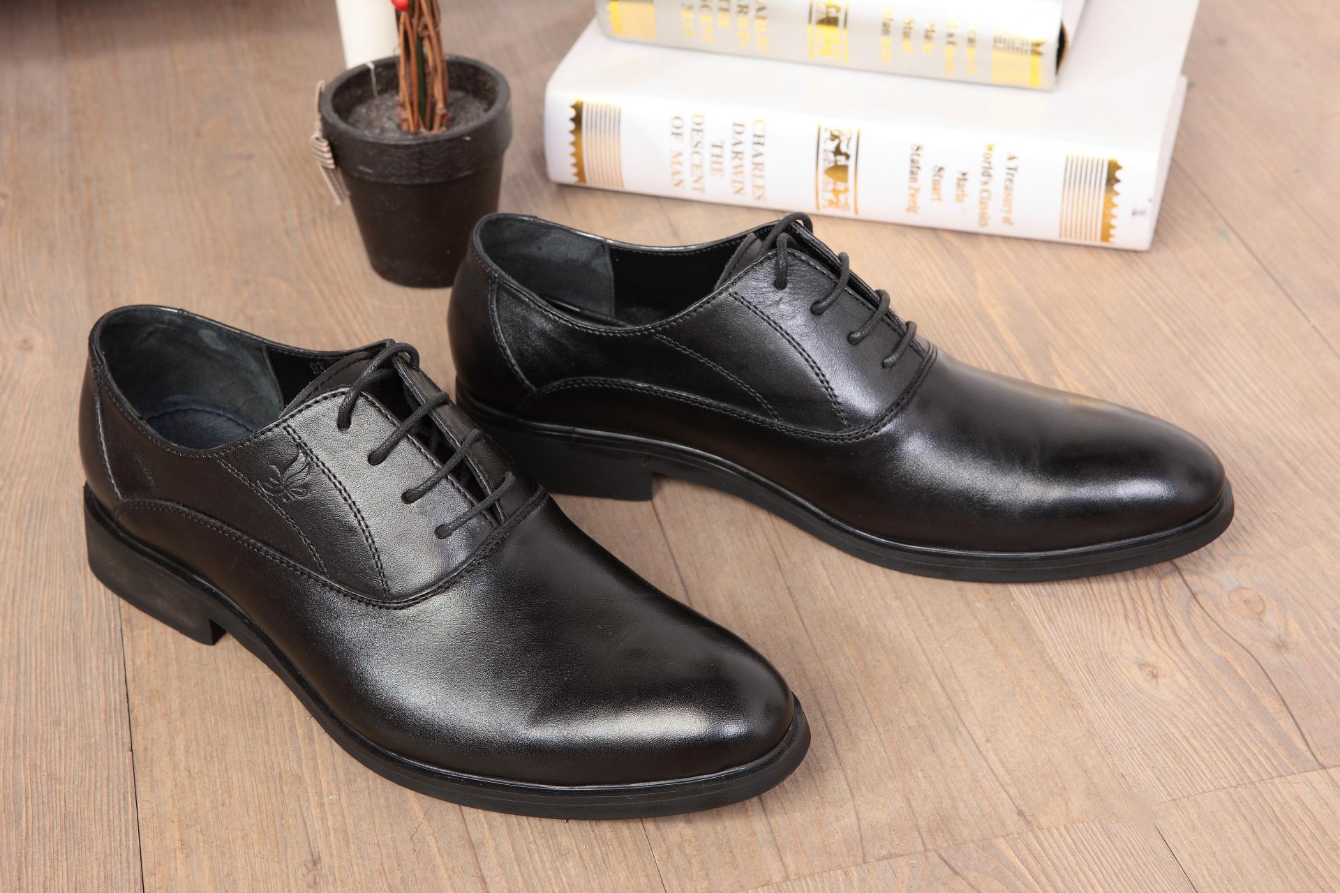 【乐言鞋业】9371商务皮鞋-黑色-实拍
