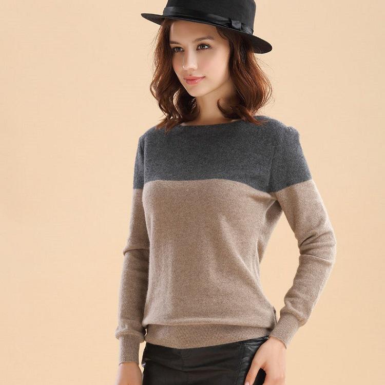 厂家批发春秋时尚新款羊绒女士圆领灰驼拼色宽松打底毛衣针织衫