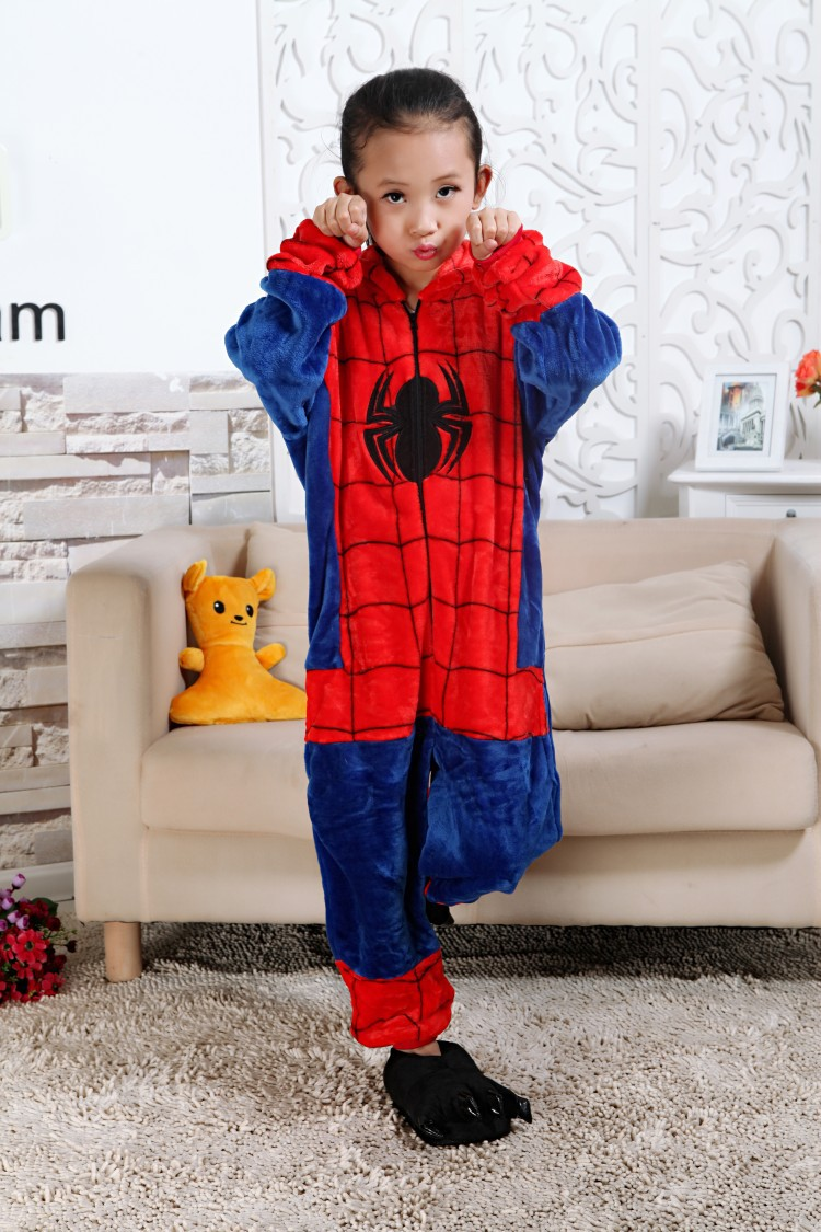 feaeaa73e9 fashion kids one-piece pajamas cartoon spiderman cosplay onesie pajamas for  3-10years children boys girls soft flannel sleepwear nightwear