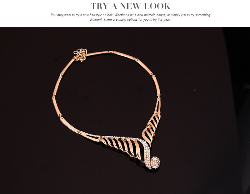 Occident alloy Drill set earring + necklace + Bracelet NHXS0684