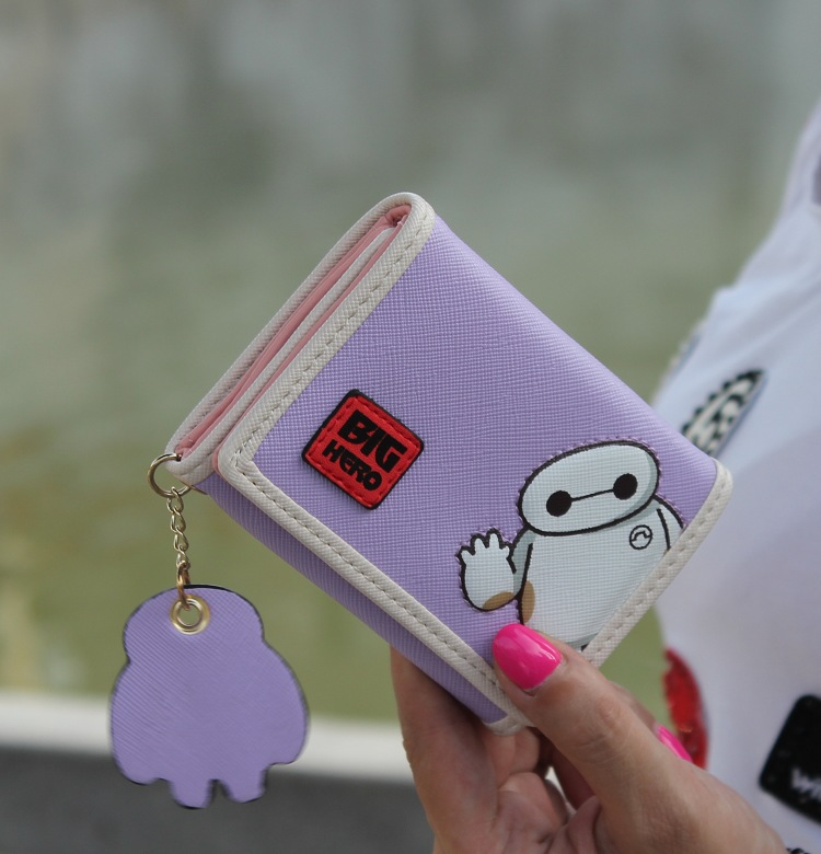 Cute cartoon stitching contrast color wallet NHNI144164
