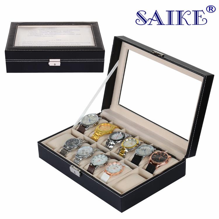 [横锁版]手表盒现货批发12位高档手表展示箱收纳盒手表箱首饰盒