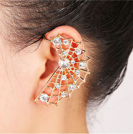 European and American fashion ear decoration temperament water drill metal spider web ear hanging ear nail ear decoration [single price]