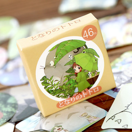 Japanese cute totoro boxed stickers stickers DIY hand account stickers 46 pieces into