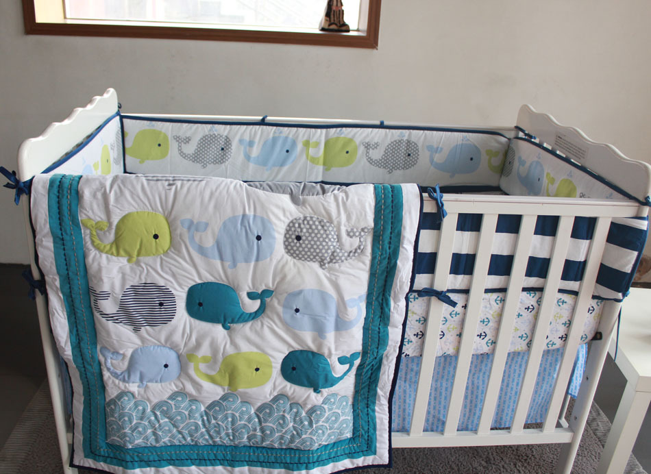 8 piece boy baby bedding set cartoon whale nursery quilt 10146 | 2275193858 763181372