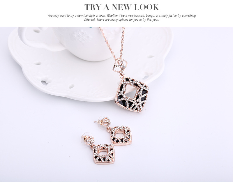 Womens Rhinestone Leopard print hollow Alloy Jewelry Sets NHXS127415