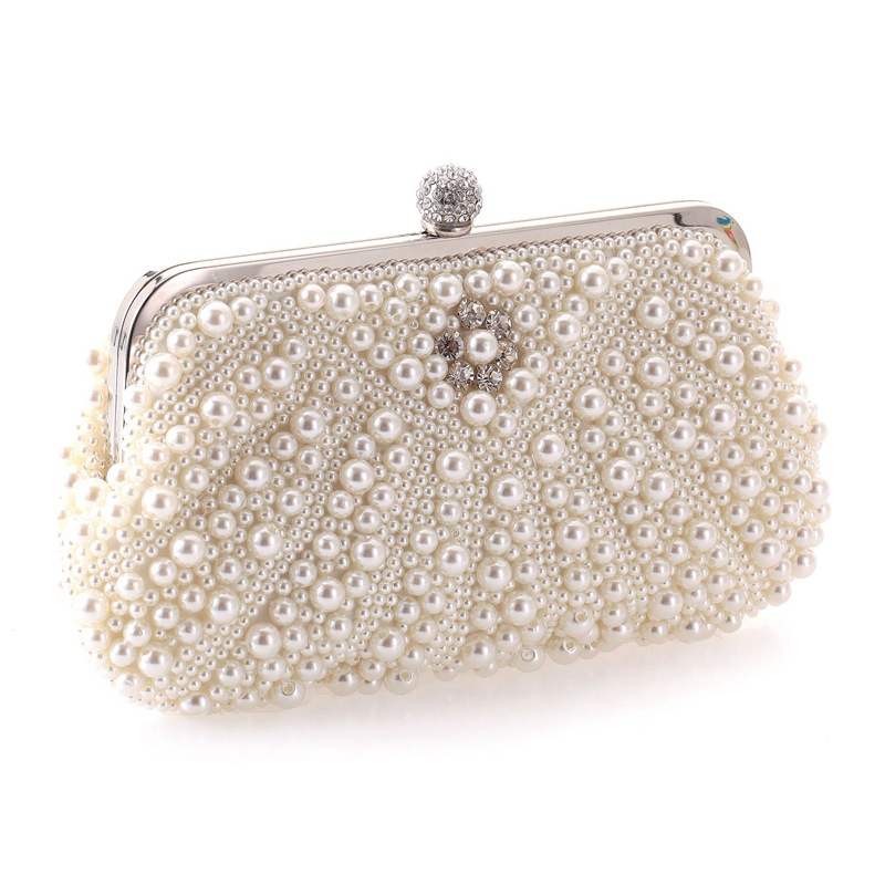 Women's bag fine pearl evening banquet bag beaded dress clutch bag chain shoulder bag NHYG183003