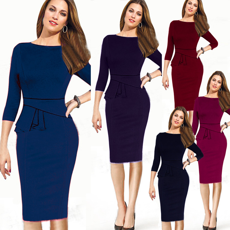 f4d02b61bf 2019 Female Work Formal Dress Fashion Career Peplum Pencil Dresses ...